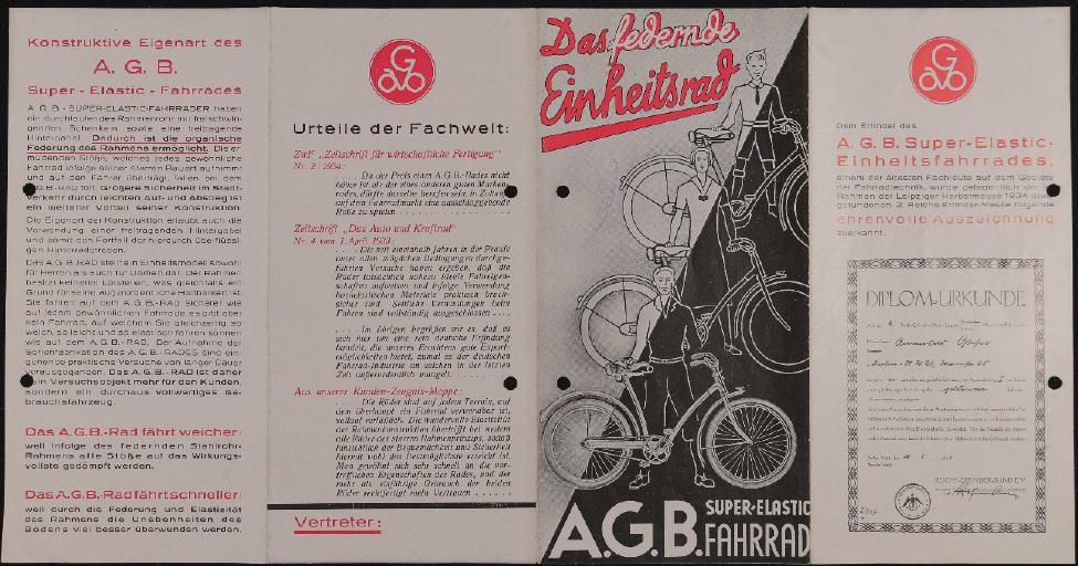 A.G.B. Super-Elastic Fahrrad Faltblatt 1934
