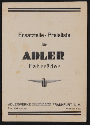Adler 3 Gang Ersatzteil - Preisliste 1939
