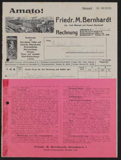 Amato F. M. Bernhard Großhandel Rechnungen 1928
