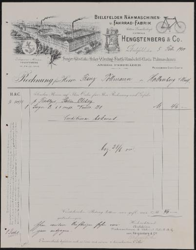 Anker Hengstenberg u. Co. Rechnung 5.2.1900