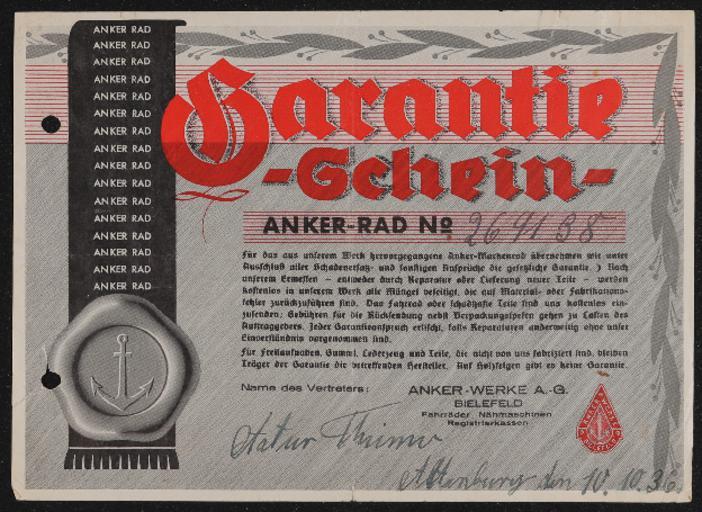 Anker Rad Garantieschein 10.10.1936