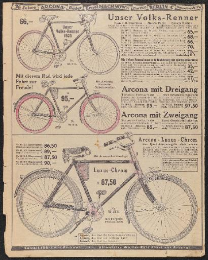 Arcona-Räder Ernst Machnow Werbeblatt 1935