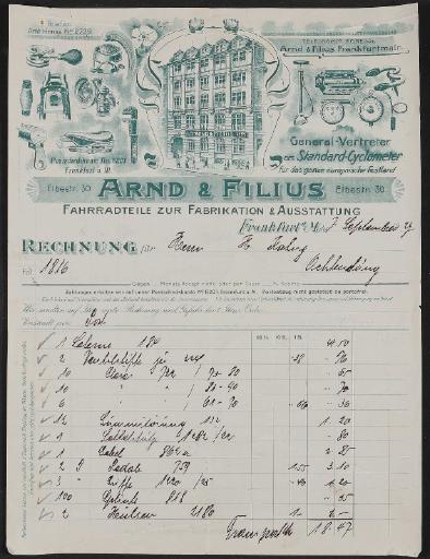 Arnd u. Filius Fahrradteile, Rechnung 1927