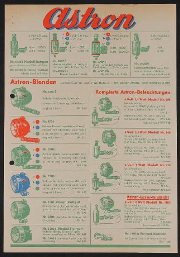 Astron Beleuchtung Werbeblatt 1930er Jahre