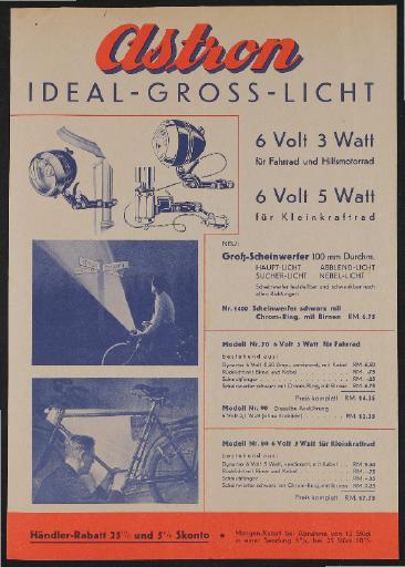 Astron Ideal-Gross-Licht Werbeblatt 1930er Jahre