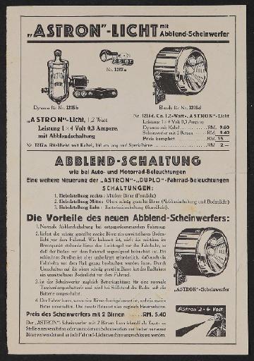 Astron Licht Werbeblatt 1930er Jahre