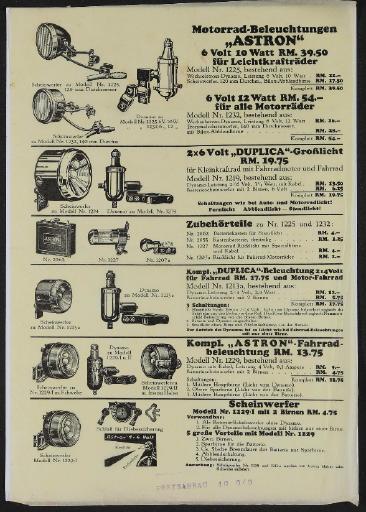 Astron Motorrad und Fahrrad Beleuchtungen Werbeblatt 1930er Jahre