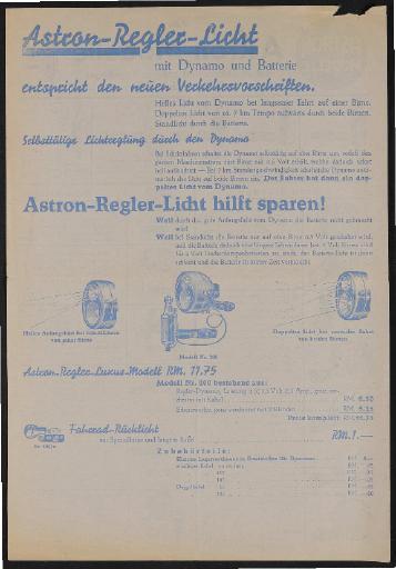 Astron Regler-Licht Werbeblatt 1930er Jahre