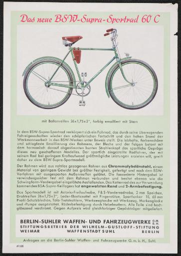 BSW Das neue BSW-Supra-Sportrad 60 C Werbeblatt 30er Jahre