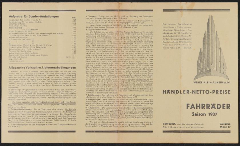 Bauer Fahrräder Preisliste 1937