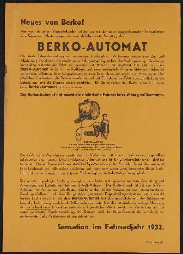 Berko Berko-Automat Werbeblatt 1932