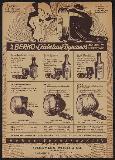 Berko Leichtlauf-Dynamo Werbeblatt 1930er Jahre