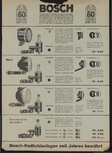 Bosch Rad-Licht-Anlagen Werbeblatt 1936
