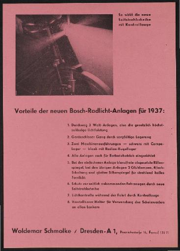 Bosch Rad-Licht-Anlagen Werbeblatt 1937