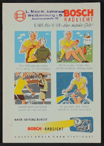 Bosch Radlicht Werbeblatt 1950er Jahre