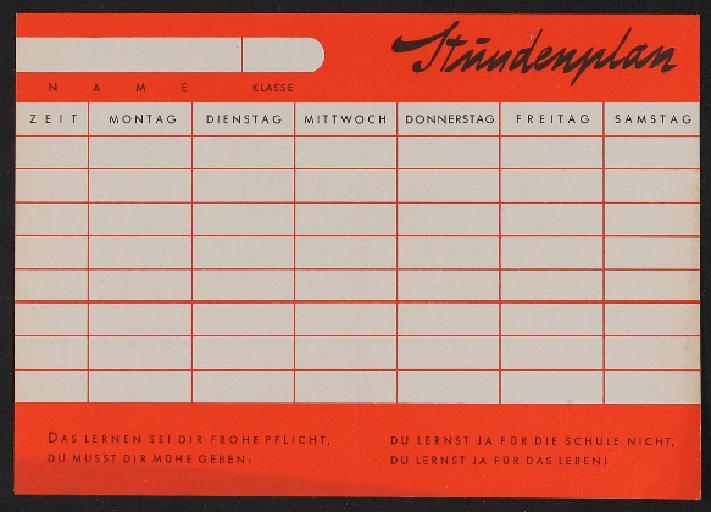 Bosch Radlicht Werbeblatt Stundenplan 1954