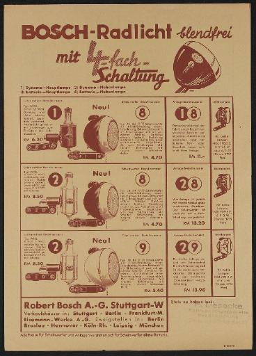 Bosch Radlicht mit 4 fach Schaltung Werbeblatt 1930er Jahre