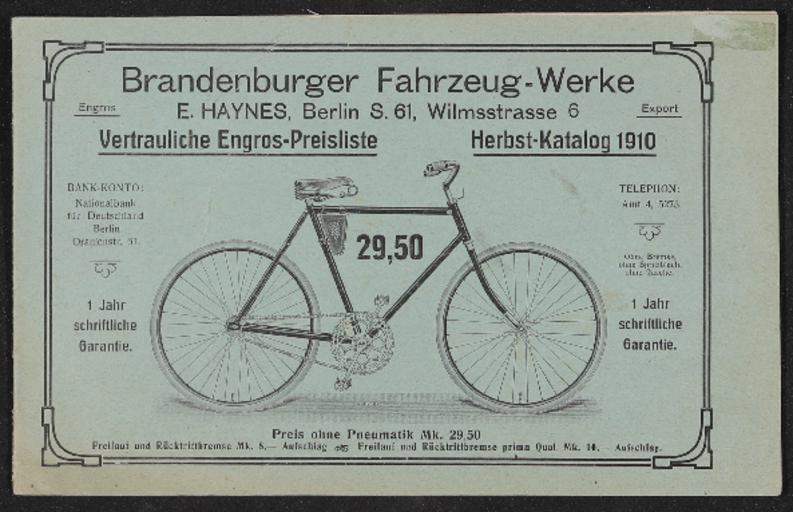 Brandenburger Fahrzeug-Werke Katalog 1910
