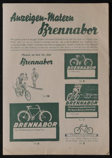 Brennabor Anzeigen-Matern Anzeigendruckvorlagen 1930er Jahre