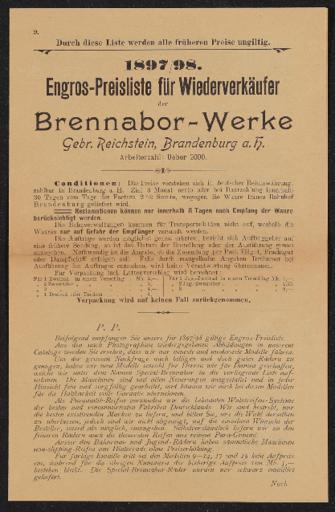 Brennabor Engros-Preisliste für Wiederverkäufer 1897 1898