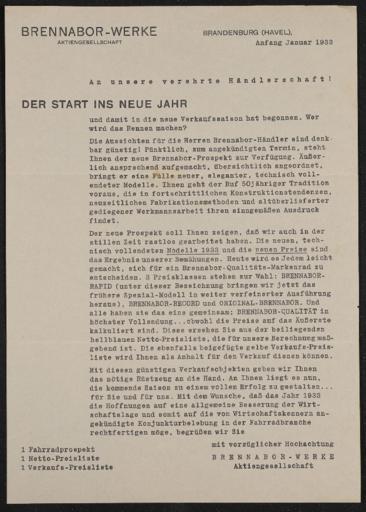 Brennabor Händlerrundschreiben 1933
