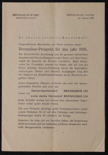 Brennabor Händlerrundschreiben 1935
