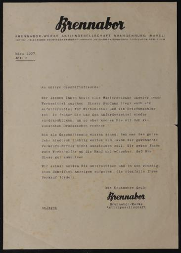 Brennabor Händlerrundschreiben 1937