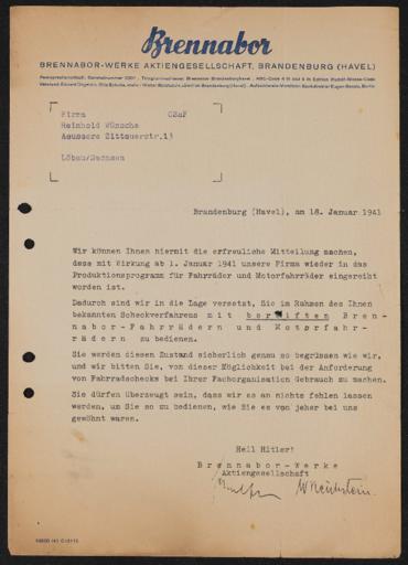 Brennabor Händlerschriftwechsel 1941