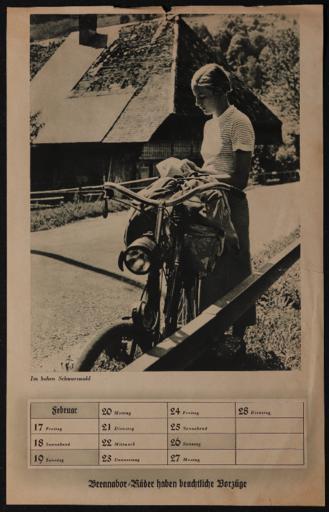 Brennabor Kalenderblatt Februar 1930er Jahre