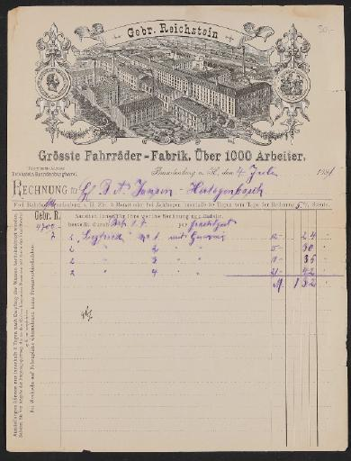 Gebr. Reichstein (Brennabor), Rechnung 1891