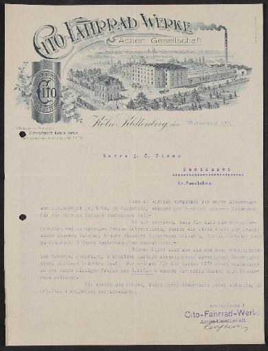 Cito-Fahrrad-Werke, Werbeschreiben 1901