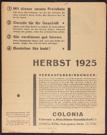 Colonia Fahrrad- u. Maschinen-Gesellschaft Katalog 1925