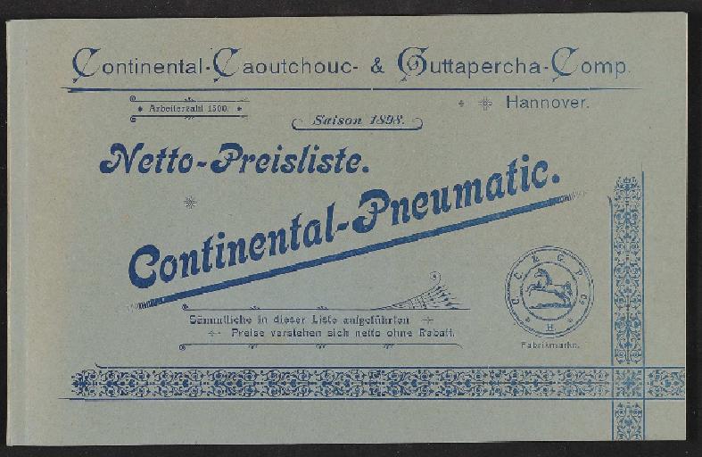 Continental-Pneumatic, Netto-Preisliste, 1898