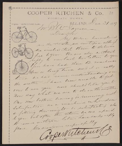 Cooper Kitchen u. Co, Schreiben 1889