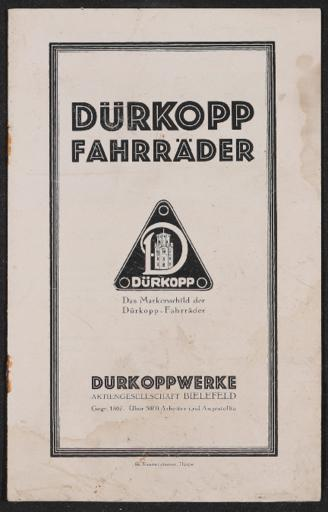 Dürkopp Fahrräder Katalog 1922