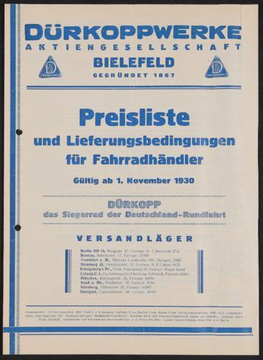 Dürkopp Preisliste 1930