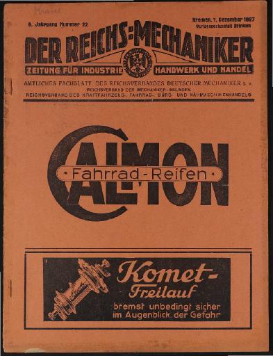 Der Reichsmechaniker Zeitung 1.Dezember 1927