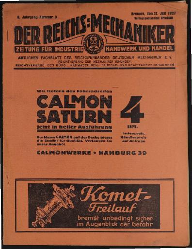 Der Reichsmechaniker Zeitung 21. Juli 1927