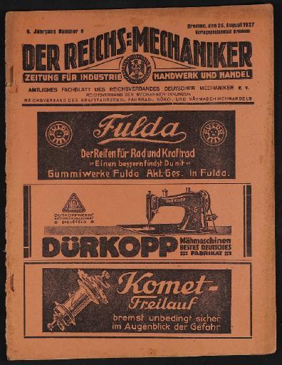 Der Reichsmechaniker Zeitung 25. August1927