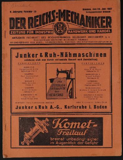 Der Reichsmechaniker Zeitung 30. Juni 1927