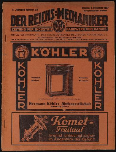 Der Reichsmechaniker Zeitung 8.Dezember 1927