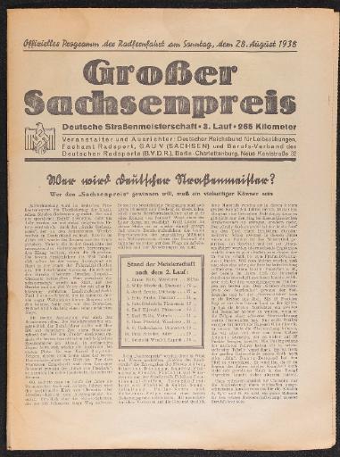 Großer Sachsenpreis Deutsche Straßenmeisterschaft Programmheft 1938