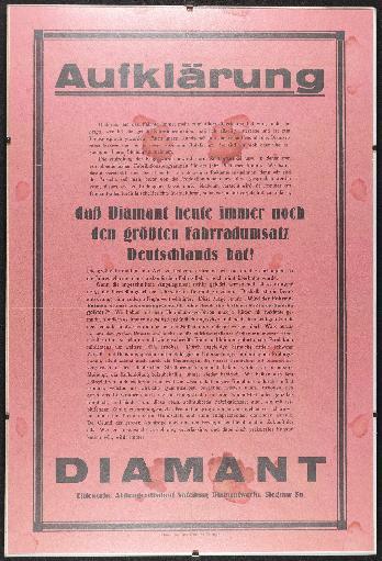 Diamant Aufklärung Fahrradumsatz Plakat 1925