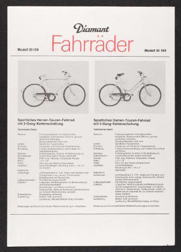 Diamant Fahrräder Mod. 35 109 35 164 Datenblatt 1982