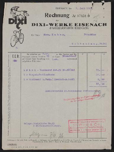 Dixi-Werke, Rechnung 1926