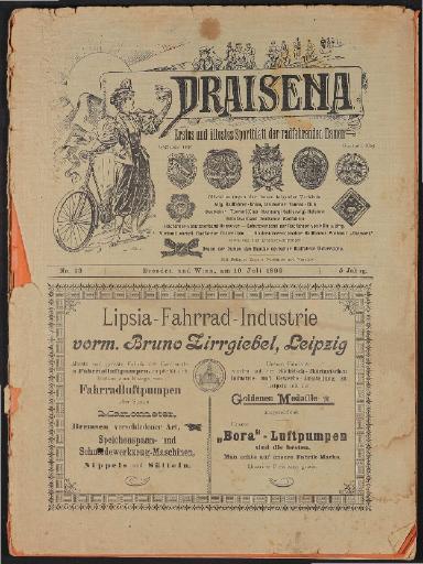Draisena, erstes u. ältestes Sportblatt der radfahrenden Damen Nr.13, Juli 1899