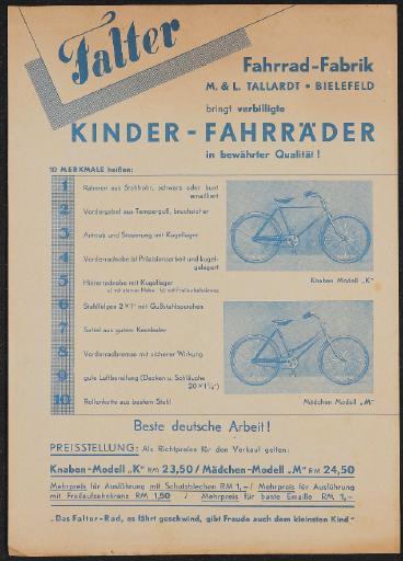 Falter Kinder-Fahrräder Werbeblatt 1930er Jahre