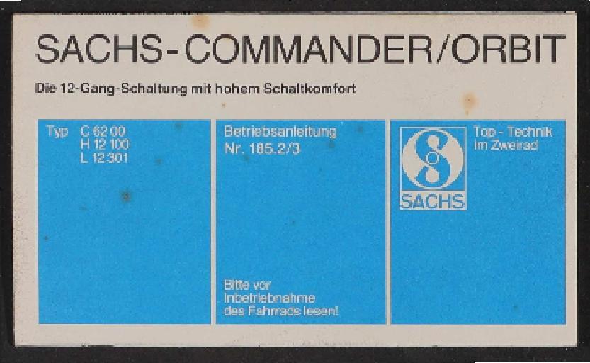 Fichtel u. Sachs Commander-Orbit 2x6 gang-Schaltung betriebsanleitung Faltblatt 1980er Jahre