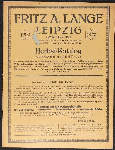 Fritz A. Lange Leipzig Katalog 1925
