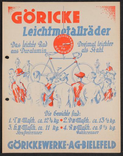 Göricke  Leichtmetallräder Werbeblatt 1930er Jahre